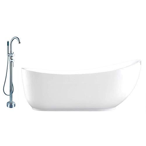 Vrijstaand bad van wit acryl MAILAND - 180 x 89 cm - met of zonder kraan, Mixer mengkraan:Incl. Keukenmixer 8028, Sifon voor vrijstaand bad:Zonder Sifon