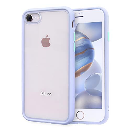 ZELAXY Funda Transparente para iPhone SE iPhone 7 iPhone 8 (+ Protector de Pantalla) – Carcasa Trasera Bumper Antigolpes Arañazos– con Bordes de Silicona – no amarillea TPU PC – Lila