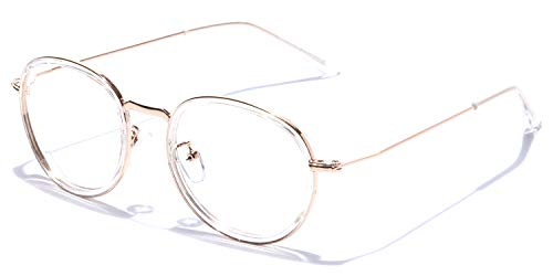 Coolwinks E50A7535 Glossy Gold Transparent Full Frame Round Eyeglasses for Men and Women