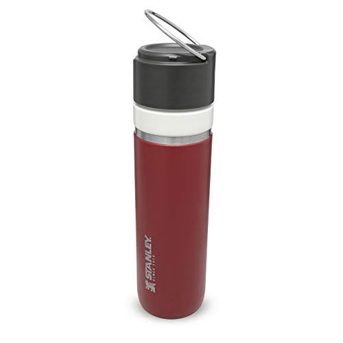 Stanley Ceramivac GO Bottle mit Spritzschutz Edelstahl-Thermosflasche mit CERAMIVAC   Auslaufsicher   BPA-frei   Spülmaschinenfest , 700ml, Cranberry