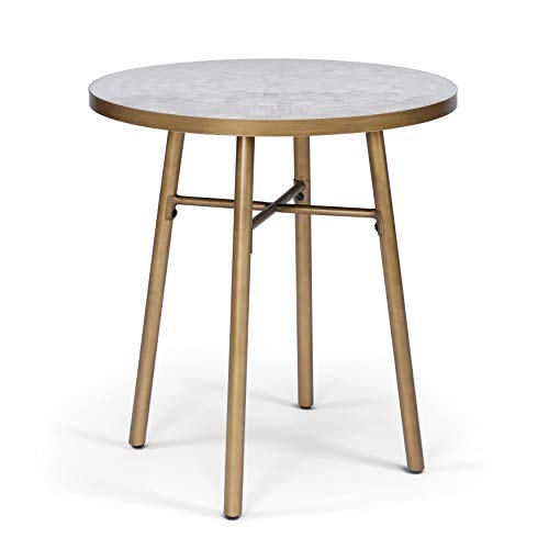 UKN Outdoor White Marble Tile Top Bistro Table Brown Modern Contemporary Round Metal Powder Coated Weather Resistant
