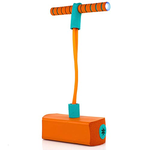 FOREVIVE Foam Pogo Jumper Kids Pogo Stick Toys-Safe and Fun Jumping Stick, Funny Squeaks, with Flashing Led Lights, Children 3 Years and Over-a Great Gift for Boys and Girls (Orange)