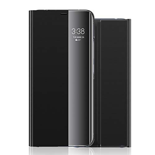 wonfurd Samsung Galaxy Note 8 Hülle Kristallklarer - 360 Grad Clear View Flip Cover Kameraschutz Handyhüllen Leder Flip Case mit Standfunktion Schutzhülle Zubehör für Samsung Galaxy Note 8-Schwarz
