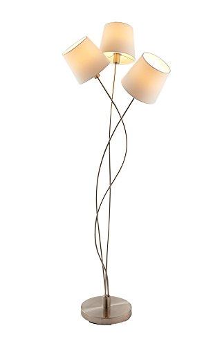 lifestyle4living Stehlampe, Stehleuchte, Standleuchte, Standlampe, Bodenlampe, Wohnzimmerlampe, Lampe, Leuchte, cremefarben, Stoff, Nickel, matt