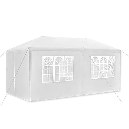 Fscm Pavillon Partyzelt Gartenpavillon aus Wasserdicht PE Plane, Stahlrohr, Gazebo Bierzelt mit Seitenteilen Fenster Tür mit Reisverschluss für Garten, Terrasse, Party, Markt (3x6m, Weiß)