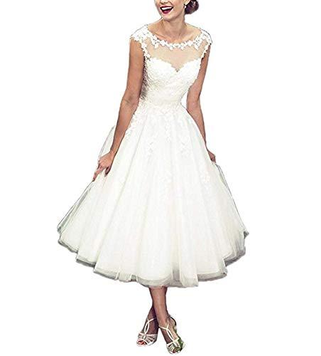 YASIOU Hochzeitskleid Damen A Linie Kurz Spitze Tüll Standesamt Vintage Brautkleider Tee-lang Hochzeitskleider