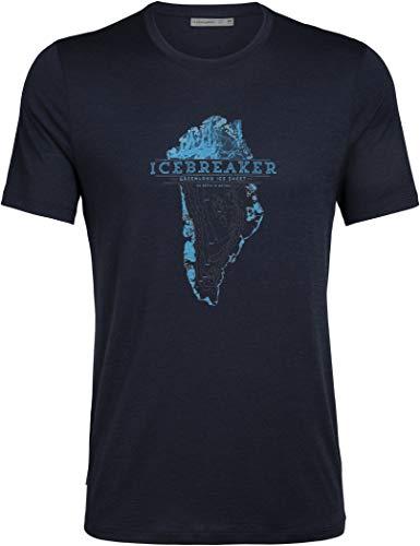 icebreaker M Tech Lite Short-Sleeve Crewe Greenland Crest Blau, Herren Merino T-Shirt, Größe M - Farbe Midnight Navy