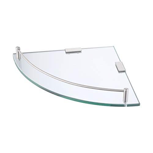 Umi. por Amazon Estante de Vidrio Esquina Estantería Flotante de Pared de Cristal Vidrio Templado 7MM con Toallero de acero inoxidable 304, BGS2101A-2