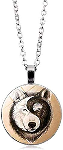 DUEJJH Co.,ltd Collar Hecho a Mano de Cristal cabujón Colgante de Lobo Collar chisme Yi Nd Yang Collar joyería China taoísta Regalo de impresión