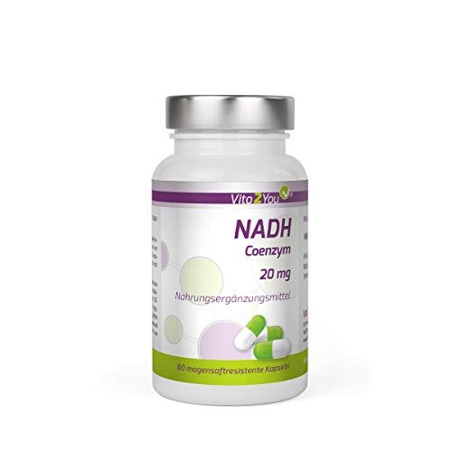 NADH 20mg - 60 magensaftresistente Kapseln - Coenzym 1 - Premium Qualität