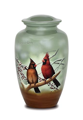 Adult Cremation URNS for Ashes- Cardinal Couple Birds Cremation Urns for Human Ashes - Completely Handcrafted with Volume 200 Cu. in. with Velvet Protection Bag. (Cardinal Birds)