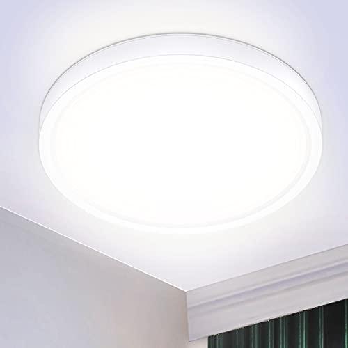 IAB 24W Lámpara LED Techo, Plafón LED Techo Baño a Prueba de Agua IP44, Luz LED Techo de 4500K, Luce Protectora de los Ojos para el Cuarto de Balcón Pasillo Cocina Habitación, Blanco Neutro Fina Ø23cm