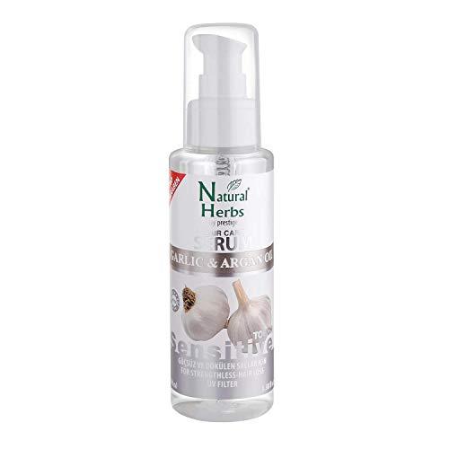 Seed Natural Herbs Knoblauch Arganöl Haarkur Serum - Geruchlos - Garlic & Argan Haaröl 100 ml - Anti Frizz - Anti Haarausfall Frauen & Männer - Hitzeschutz für Haare & UV-Filter Schutz