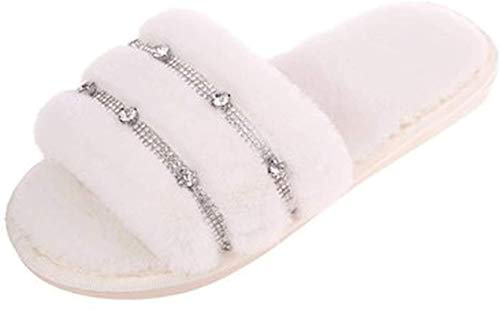 HUIYAN Baumwollpantoffeln Hausschuhe Mode Plüschhausschuhe Neuheit | Open-Toed Mode Strass Memory Foam mit Fell Damen Hausschuhe | Winter-Indoor Warm Slippers (Color : Beige, Size : 36-37#)