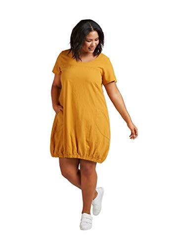 Zizzi Damen Weiches Kleid Knielang Kurzarm Basic Sommerkleid , Farbe: Gelb, Gr. 42-44 (S)