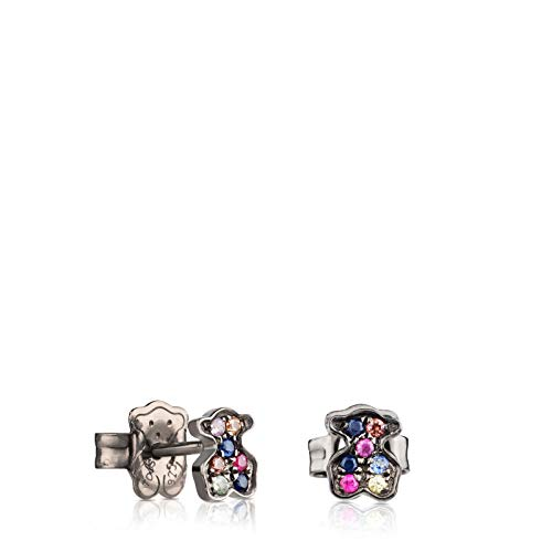 TOUS Pendientes de mujer Fantasy en plata de primera ley pavonada y zafiros multicolor - Tamaño 0,64 cm