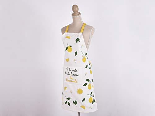 MI CASA 8435223089709 Delantal Chef Lemon 60X75CM, 100% algodón, Unico, 60X75