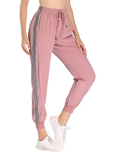 Aibrou Jogginghose Damen Sporthose Freizeithose Traininghose Baumwolle Lang für Jogging Laufen Fitness mit Streifen Pink-4 S