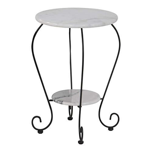 Lesli Living Beistelltisch Marmor Ø41 cm Gartentisch mit gusseisernen Beinen Bistrotisch Rundtisch mit Ablage Blumentisch Telefontisch schwarz/Weiss