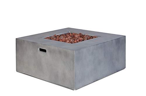 intergrill Gasfeuerstelle TM17001 Designer Fire Pit Feuertisch für Garten mit Laversteinen Steinoptik Quadratisch