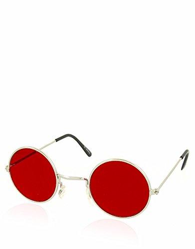 Daredevil Teashade Style Sonnenbrille, Silber Rahmen / rote Linse