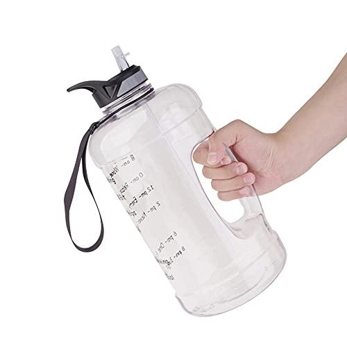 Botella de agua de 1 galón con pajita y mango, sin BPA, botella de agua con marcadores de tiempo para recordar el tiempo de hidratación, ideal para deportes, bicicleta, yoga, senderismo y camping