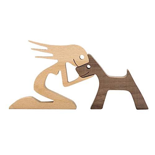 MagiDeal Tallado a Mano Cachorro Estatua Humana estatuilla Escultura de Perro nórdico Animal decoración hogar Estante Oficina Escritorio Adornos cumpleaños - 24.5x12x1.2CM