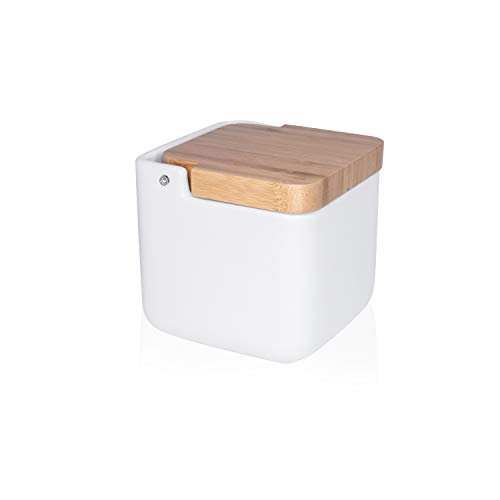 KOOK TIME saleros de Cocina con Tapa de Madera de bambú basculante, 11.2 x 11.2 x 11.2 cm. - Saleros de Cocina Modernos con Base cerámica Blanca para Usar como salero y azucarero o especieros