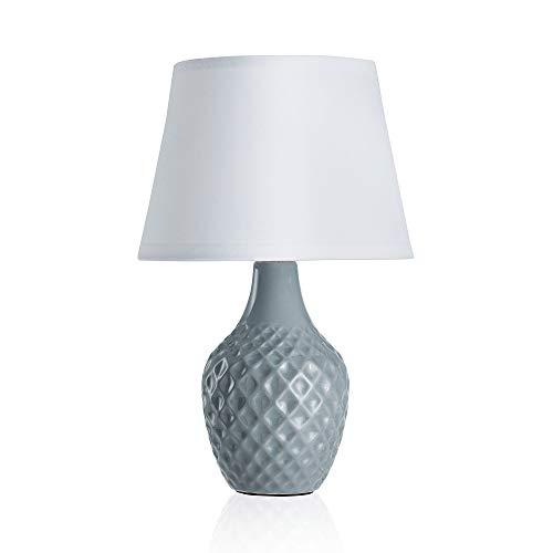 Pauleen Lovely Sparkle Tischleuchte max. 20W Tischlampe für E14 Lampen Nachttischlampe Grau Weiß 230V Keramik/Stoff ohne Leuchtmittel 48019