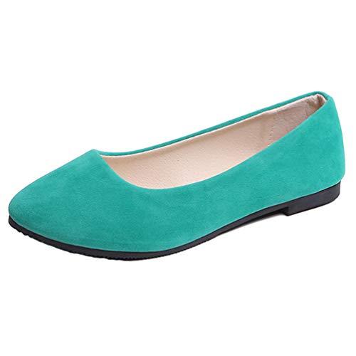 TieNew Women Loafer Flats Ladies Slip On Flat Comfort Walking Ballerina Shoes Summer Loafer Flats UK 2.5-8.5 Size Green