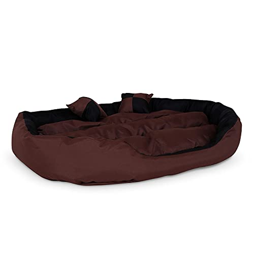lionto by dibea Cama para perros 4 en 1 cojín para perros cesta para perros con cojín reversible (L) 110x80 cm negro/marrón