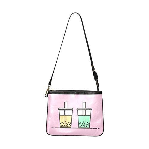 Shoulder Travel Bag Cute Boba Green Tea Drink Universal Shoulder Bag 10 X 8 Inch Lightweight Pu Leather Over The Shoulder Bag For Men With Long Strap For Women