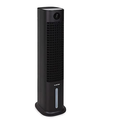 Klarstein Skytower Grand Smart - Raffreddatore Evaporativo, Ventilatore, Depuratore, Umidificatore, Wi-Fi, App-Control, Flusso: 480 m³/h, 80 W, Serbatoio: 8 L, 2 x Piastre Eutettiche, Nero