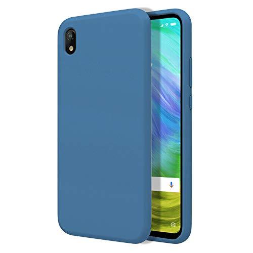 TBOC Funda para Xiaomi Redmi 7A [5.45']- Carcasa Rígida [Azul] Silicona Líquida Premium [Tacto Suave] Forro Interior Microfibra [Protege la Cámara] Antideslizante Resistente Suciedad Arañazos