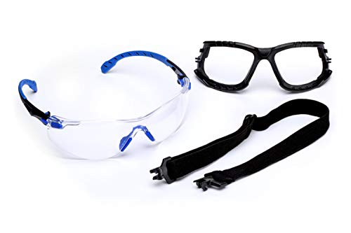 3M - S1101SGAF-KT -S1101 Safety Glasses, Solus 1000 Series, 1 Pair, ANSI Z87, Scotchgard Anti-Fog, Clear Lens, Blue/Black Frame, Removable Foam Gasket and Strap Black/Blue