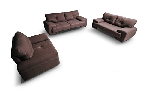 mb-moebel Polstergarnitur Sofa Set 3er & 2er & Sessel 3-2-1 Wohnlandschaft 3-Sitzer und 2-Sitzer Möbel Set - ENZO (Braun)