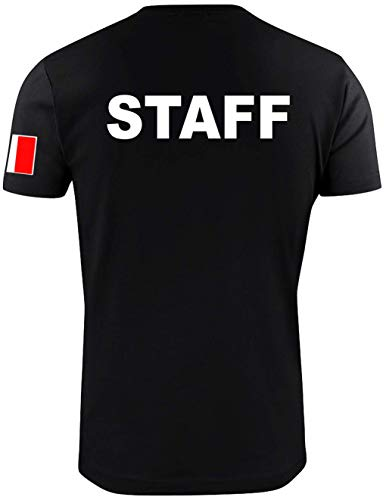 WIXSOO T-Shirt Maglietta Staff Uomo Italia Nera (XL, Stampa Solo Retro)