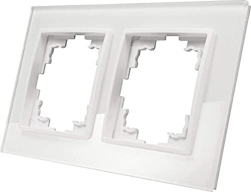 Marco de cristal de 2 compartimentos, serie GLASS, color blanco