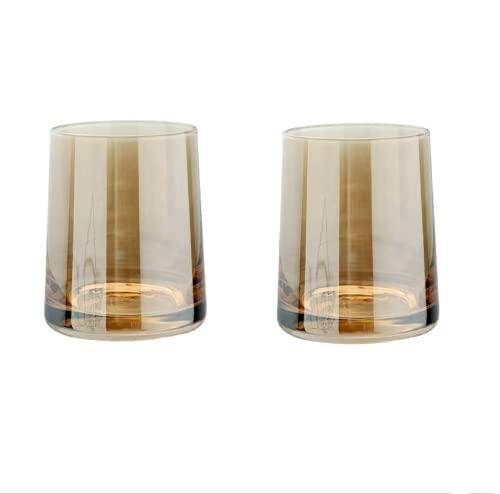 Paquete De 2 Cristalería Ámbar para Cóctel, Cristal Transparente, Vasos De Whisky, Vaso De Moda con Base, Regalo para El Día del Padre, Regalo para Amantes del Whisky, Cuenco De Vino