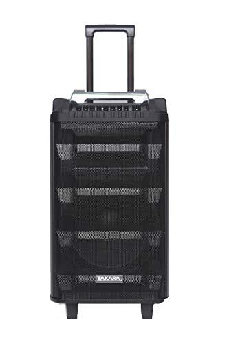 Takara Karaoke Speaker T 7112 Trolley 12 Inch Speaker Portable Multimedia Bluetooth; Audio Recording; USB; SD; TF; AUX PA System with 2 Wireless UHF Mic; Remote Control; FM (Black)