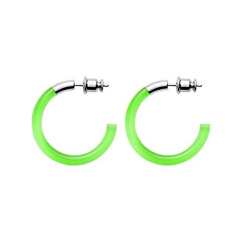 Skagen 32012396 - Pendientes de aro para mujer, plástico, acero inoxidable, talla única, color verde