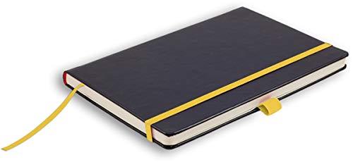 Leykam Denkzettel Notizbuch Softtouch Gelbes Elastikband Stifthalterung Pockettasche kariert 19x25cm
