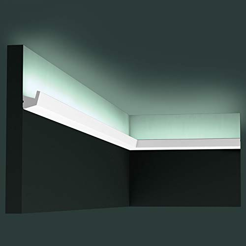 Orac Decor CX189 | High Impact Polystyrene Crown Moulding | Primed White | 1-3/8in Face x 78in Long
