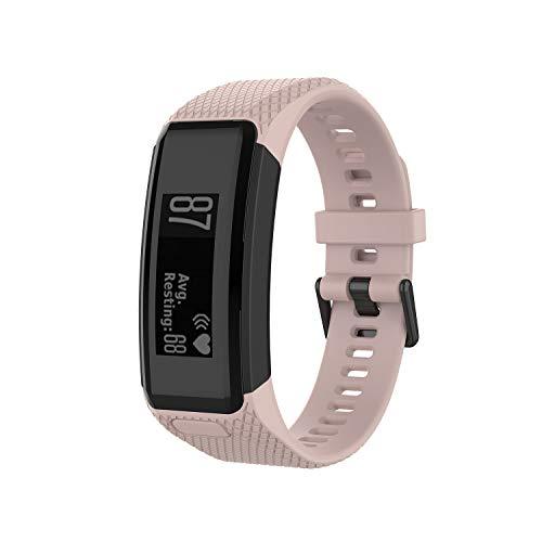 KOMI Bands Compatible with Garmin Vivosmart HR, Soft Silicone Bracelet Sport Wristband Strap Accessories with Screwdriver for Garmin Vivosmart HR(Pink)