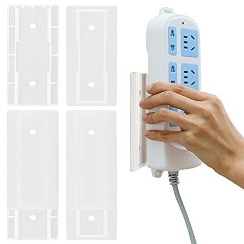 4 regletas con soporte autoadhesivo para pared para organizar enchufes y routers inalámbricos.