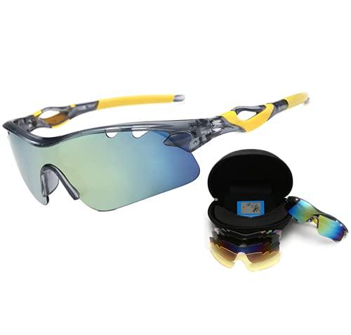 Haojiarui Gafas de bicicleta polarizantes gafas de sol 4 lentes intercambiables gafas deportivas al aire libre montar a prueba de viento