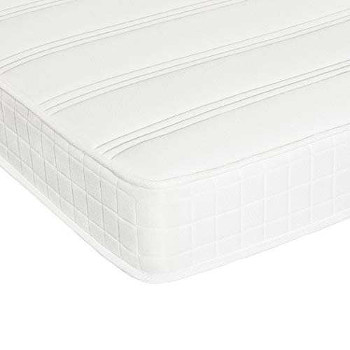 Yaheetech 3FT Single Mattress Density Sponge 216 Bonnell Springs Mattress Medium Firm Single Bed Mattress with Anti-mite Knitted Jacquard Cover,19CM Thickness