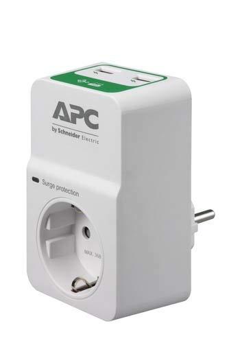 APC PM1WU2-RS Spannungsbegrenzer 1 Ausgang AC 230 V weiß - Steckdosenleiste (918 J, 1 Ausgang, 230 V, 50 Hz, 16 A, 12000 A)