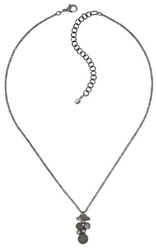 Konplott: Kette und Anhänger Planet River white, feine Erbskette mit Kristall-Leder-Anhänger in weiß, für Damen/Frauen