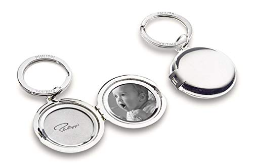 Philippi Design Medaillon Schlüsselanhänger Silber 193113 für Bilder von den Liebsten, Familie, Kind, Baby, Frau, Mann - für 2 Fotos